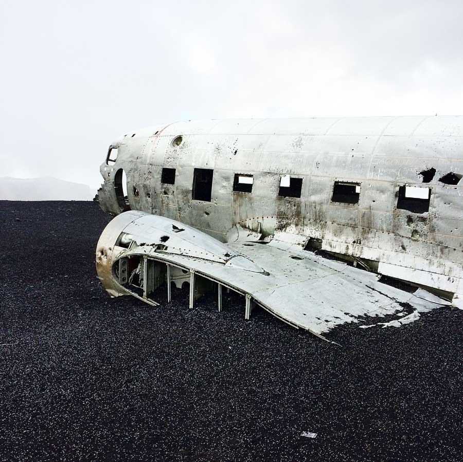 View of theSolheimasandur old army plane wreck