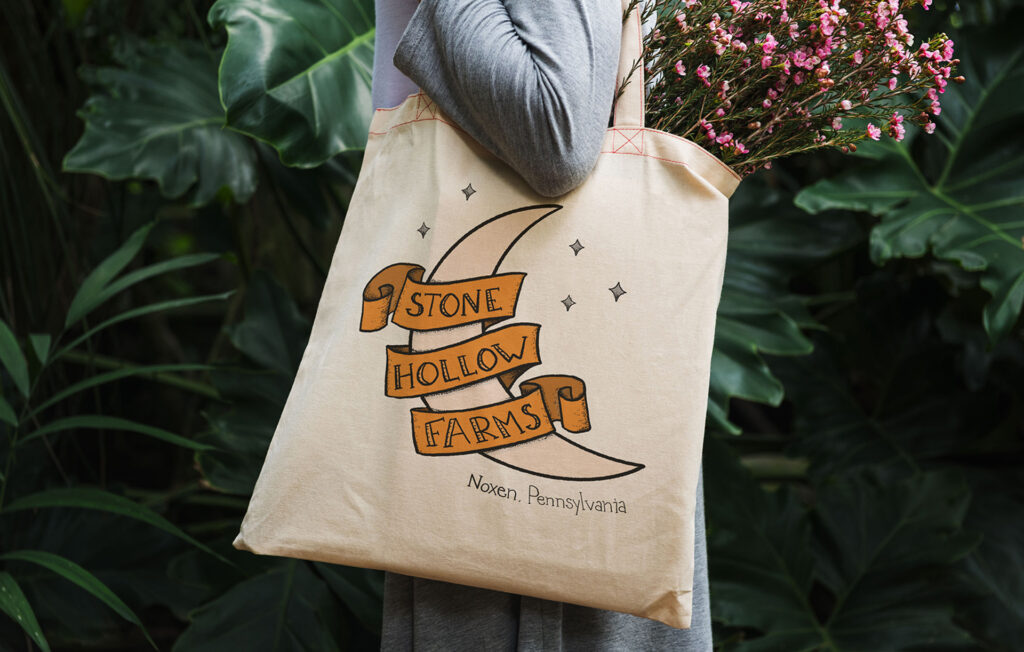 stone hollow farms illustration and tote bag